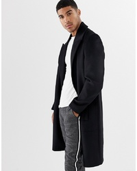 ASOS DESIGN Wool Mix Overcoat With Peak Lapel In Black