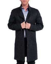 Maceoo Zipfurblue Wool Cashmere Overcoat With Genuine