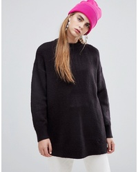 Bershka Crew Neck Long Length Jumper In Black
