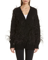 Adam Lippes Crystal And Feather Embellished Wool Cashmere Cardigan