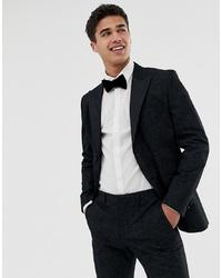 Jack & Jones Premium Tuxedo Suit Jacket With Printed Paisley Jacquard In Skinny Fit