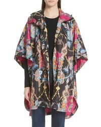 Etro Tassel Print Hooded Poncho Jacket
