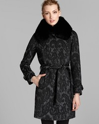 Belted paisley coat with fox fur collar medium 125487