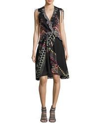 Etro Sleeveless Lace Trim Paisley High Low Dress
