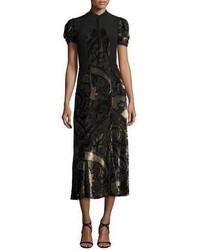 Etro Paisley Dvor Short Sleeve Midi Dress Black