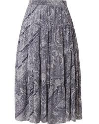 MICHAEL Michael Kors Pleated Printed Crepe Skirt