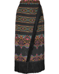 Etro Wrap Effect Fringed Printed Jacquard Midi Skirt