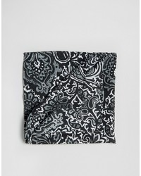 Asos Pocket Square In Monochrome Paisley Design