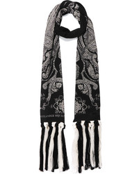 Alexander McQueen Fringed Paisley Print Silk Crepe Scarf Black