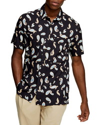 Topman Toopman Slim Fit Paisley Print Button Up Short Sleeve Shirt