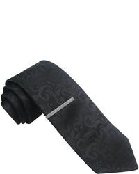 JF J.Ferrar Jf J Ferrar Textured Paisley Skinny Tie