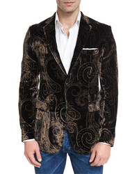Etro Paisley Velvet Evening Jacket Blackgold