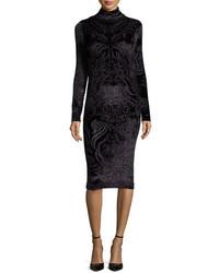 Fuzzi Long Sleeve Turtleneck Paisley Velvet Sheath Dress Black