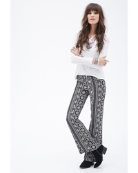 Forever 21 Mixed Print Flared Pants