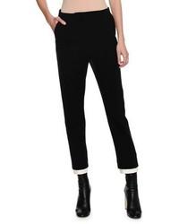Alexander McQueen High Waist Double Contrast Hem Cigarette Pants