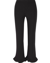 Opening Ceremony William Ruffle Trimmed Stretch Crepe Straight Leg Pants Black