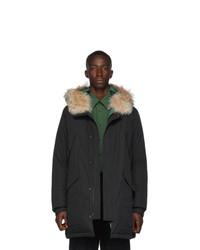 Yves Salomon Army Black Down And Fur Puff Parka