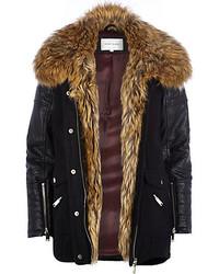 River Island Black Faux Fur Collar Wool Parka Jacket