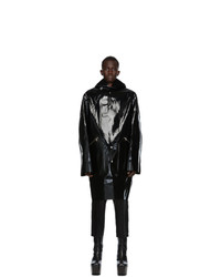 Rick Owens Black Glossy Hooded Seamless Parka