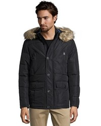 Buffalo David Bitton Buffalo Jeans Black Quilted Faux Fur Hooded Zip Front Parka