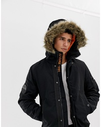 Jack & Jones Core Hooded Bomber Jacket With Faux Fur Hood