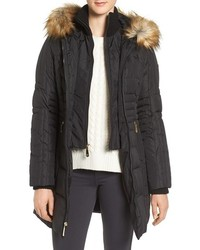 Vince Camuto Faux Fur Trim Down Feather Fill Parka With Inset Bib