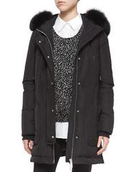 Vince Fox Fur Trimmed Hooded Parka Jacket Black