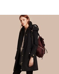 Burberry Hooded Cotton Blend Parka With Detachable Warmer