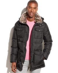 Calvin Klein Hooded Four Pocket Faux Fur Trim Parka