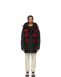 Woolrich John Rich and Bros John Rich And Bros Black And Red Down Buffalo Wool Jacket