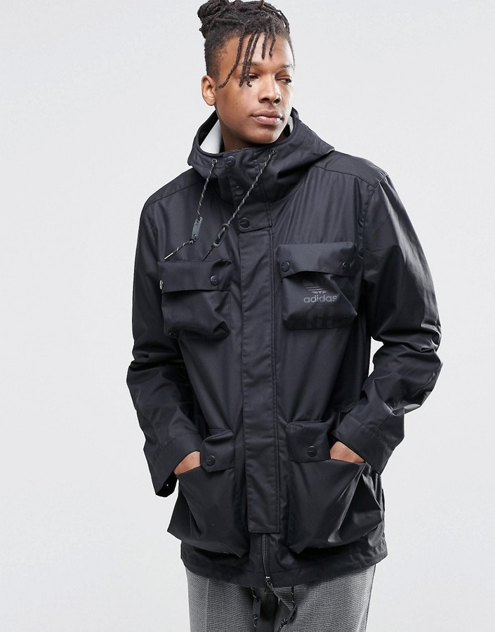 Details about adidas Originals Mens Utility Parka With Detachable Jacket Hooded Parker Coat