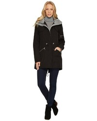 Vince Camuto Parka With Drawstring Waist And Heathered Ponti Detail N8011 Coat