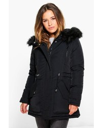 Boohoo Petite Lilly Luxe Parka With Faux Fur Hood