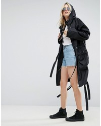 Asos Rain Parka With Side Eyelet Detail