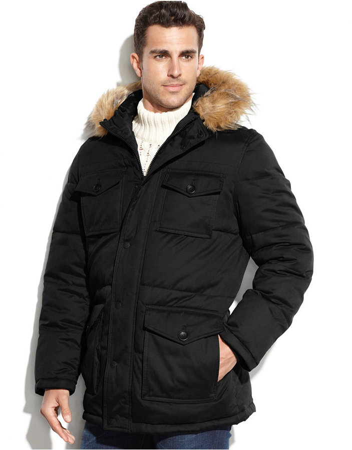 tommy hilfiger 4 pocket snorkle parka with faux fur hood. Black Bedroom Furniture Sets. Home Design Ideas