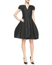 Halston Heritage Tulip Skirt Split Neck Dress
