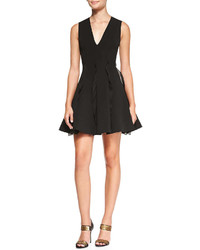 Cushnie et Ochs Ruffle Detail Pleated Dress Black