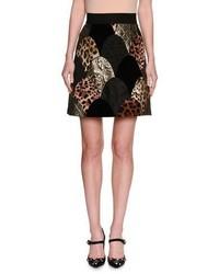 Dolce & Gabbana Leopard Floral Matelasse Patchwork Miniskirt Black