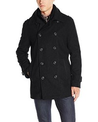 Andrew Marc Marc New York By Kerr Wool Peacoat With Microsuede Bib