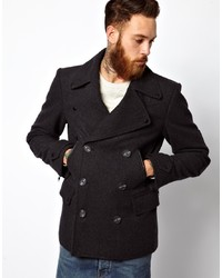 Asos Peacoat With Military Detail