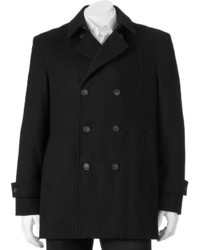 Billy London Slim Fit Double Breasted 33 In Wool Blend Short Peacoat