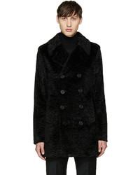 Saint Laurent Black Faux Fur Peacoat