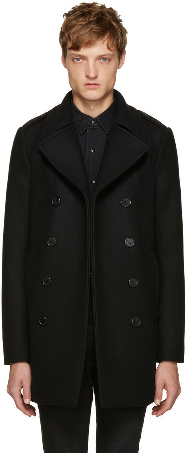 Saint Laurent 490 Peacoat Black Ssense Long Wool 2 ZzdZrw