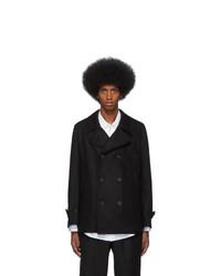 Comme Des Garcons SHIRT Black Wool Broadcloth Workstitch Peacoat