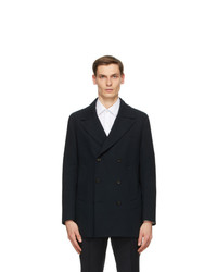 Z Zegna Black Wool Double Breasted Coat