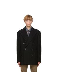 Dries Van Noten Black Wool Double Breasted Jacket