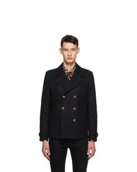 Saint Laurent Black Wool Double Breasted Peacoat