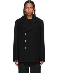 Givenchy Black Wool Double Breasted Peacoat
