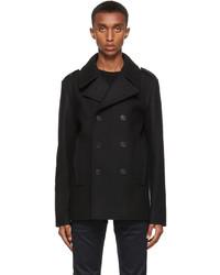 Saint Laurent Black Wool Double Breasted Peacoat