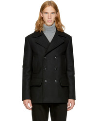 Versace Black Wool Double Breasted Peacoat